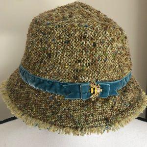 *J. CREW* Tweed Bumble Bee Bucket Hat Blue Velvet
